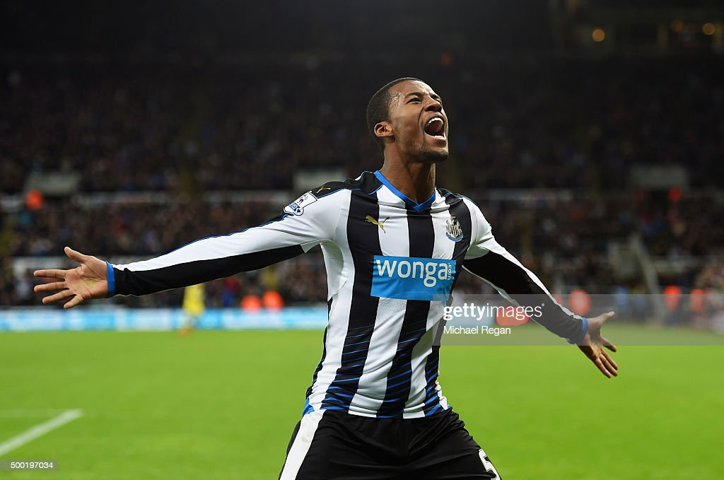Georginio Wijnaldum of Newcastle United celebrates as his cross deflects off Martin Skrtel of Liverpool for their first goal during the Barclays Premier League match between Newcastle United and Liverpool at St James' Park on December 6, 2015 in Newcastle upon Tyne, England