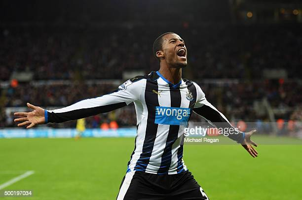 Georginio Wijnaldum of Newcastle United celebrates as his cross deflects off Martin Skrtel of Liverpool for their first goal during the Barclays...