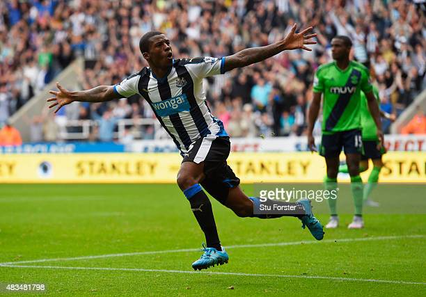 Georginio Wijnaldum of Newcastle United celebrates scoring their second goal during the Barclays Premier League match between Newcastle United and...