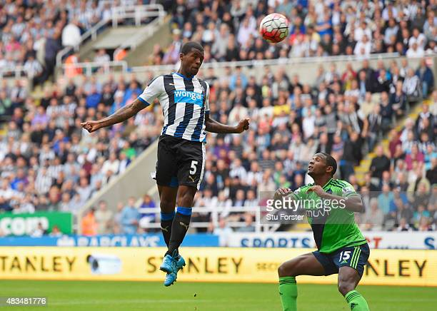 Georginio Wijnaldum of Newcastle United heads in their second goal during the Barclays Premier League match between Newcastle United and Southampton...
