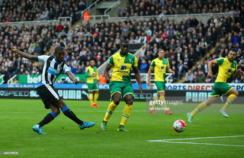Georginio Wijnaldum of Newcastle United scores the opening goal during the Barclays Premier League match between Newcastle United and Norwich City at...