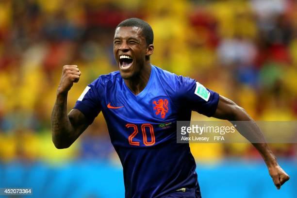 Georginio Wijnaldum of the Netherlands celebrates scoring his team's third goal during the 2014 FIFA World Cup Brazil 3rd Place Playoff match between...