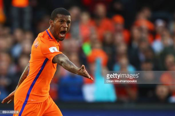 Georginio Wijnaldum of the Netherlands reacts during the FIFA 2018 World Cup Qualifier between the Netherlands and Luxembourg held at De Kuip or...
