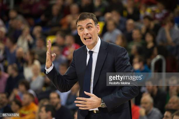 Georgios Bartzokas Head Coach of FC Barcelona Lassa in action during the 2016/2017 Turkish Airlines EuroLeague Regular Season Round 28 game between...