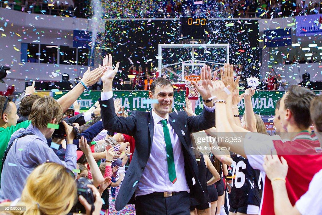 Georgios Bartzokas Head Coach of Lokomotiv Kuban Krasnodar after the 20152016 Turkish Airlines Euroleague Basketball Playoffs Game 5 between...