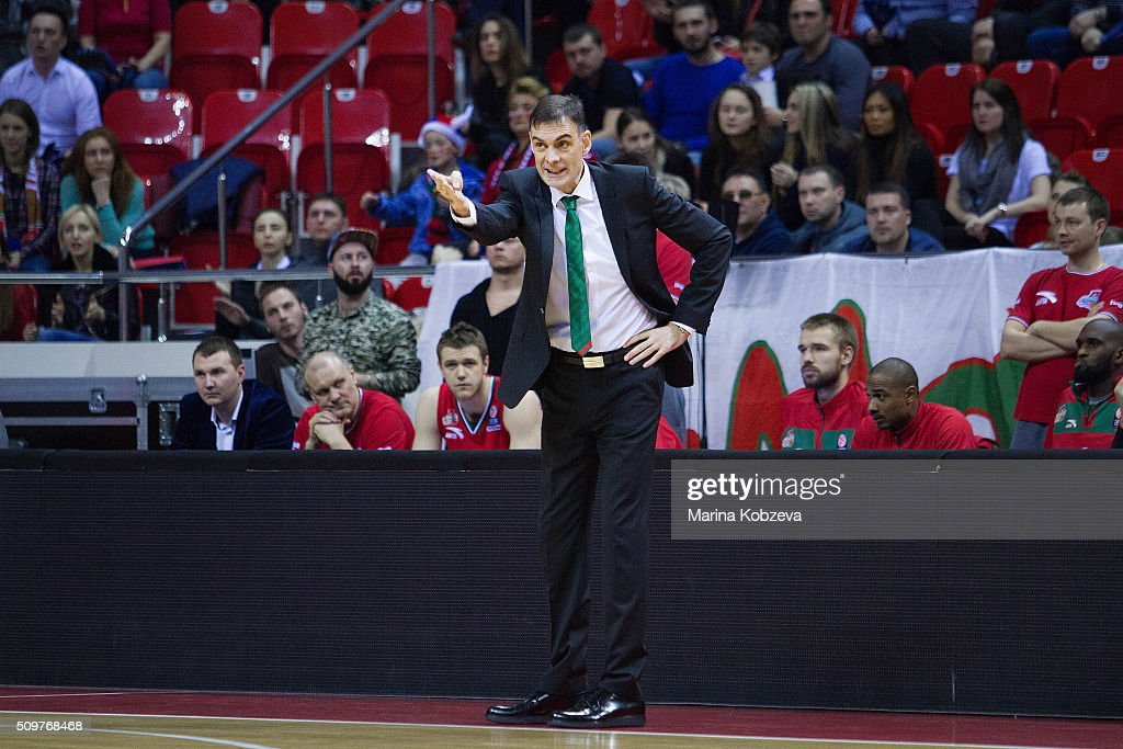 Georgios Bartzokas, Head Coach of lokomotiv Kuban Krasnodar during the Turkish Airlines Euroleague Basketball Top 16 Round 7 game between Lokomotiv Kuban Krasnodar v Darussafaka Dogus Istanbul at Basket Hall on February 12, 2016 in Krasnodar, Russia.