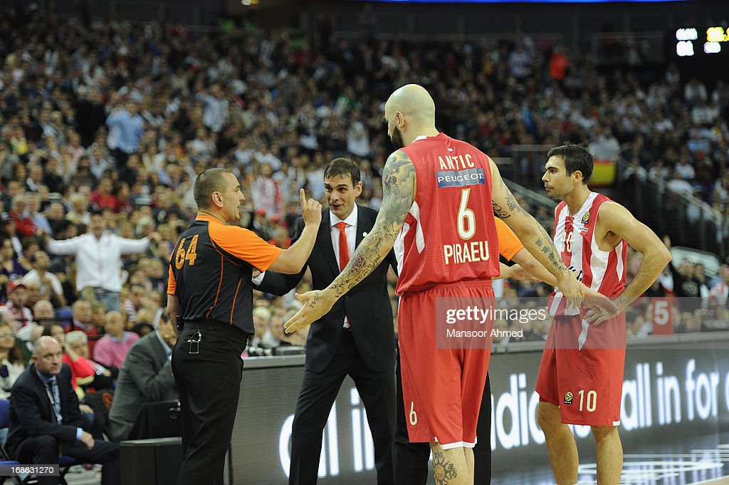 Georgios Bartzokas, Head Coach of Olympiacos Piraeus and Pero Antic, #6 react to a call from the official during the Turkish Airlines EuroLeague Final game between Olympiacos Piraeus v Real Madrid at O2 Arena on May 12, 2013 in London, United Kingdom.