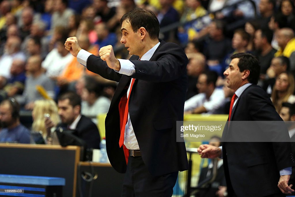 Georgios Bartzokas, Head Coach of Olympiacos Piraeus in action during the 2012-2013 Turkish Airlines Euroleague Top 16 Date 5 between Maccabi Electra Tel Aviv v Olympiacos Piraeus at Nokia Arena on January 24, 2013 in Tel Aviv, Israel.