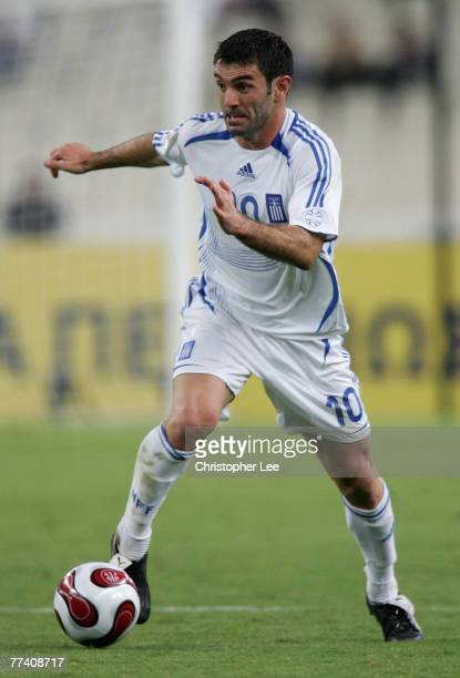 Georgios Karagounis of Greece in action during the Euro 2008 Group C Qualifying match between Greece and Bosnia Herzegovina at the Olympic Stadium on...