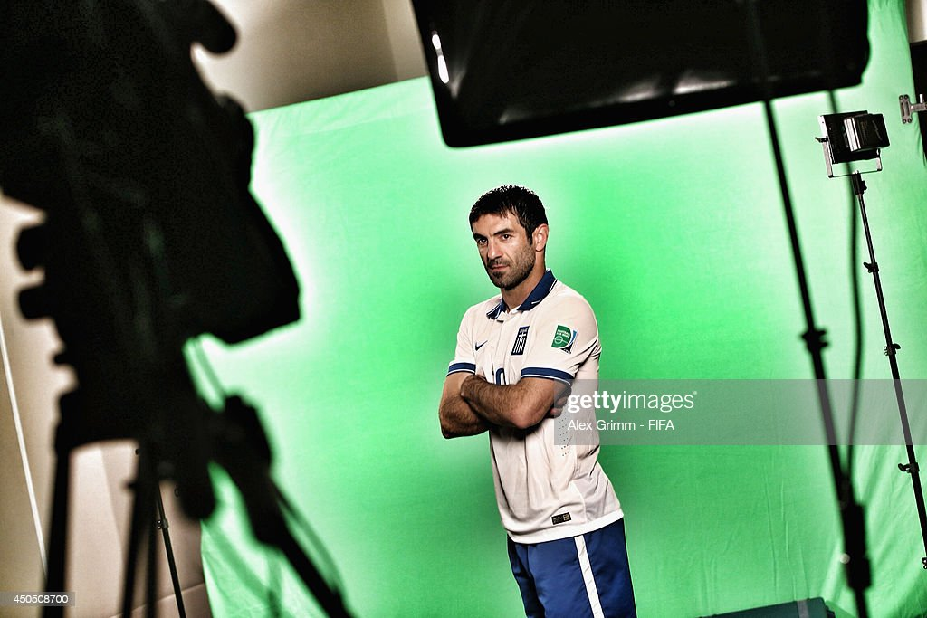 Georgios Karagounis of Greece poses during the official FIFA World Cup 2014 portrait session on June 10, 2014 in Aracaju, Brazil.