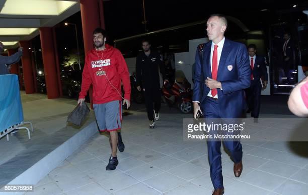 Georgios Printezis #15 and Milan Tomic of Olympiacos Piraeus arrives at the Arena during the 2017/2018 Turkish Airlines EuroLeague Regular Season...