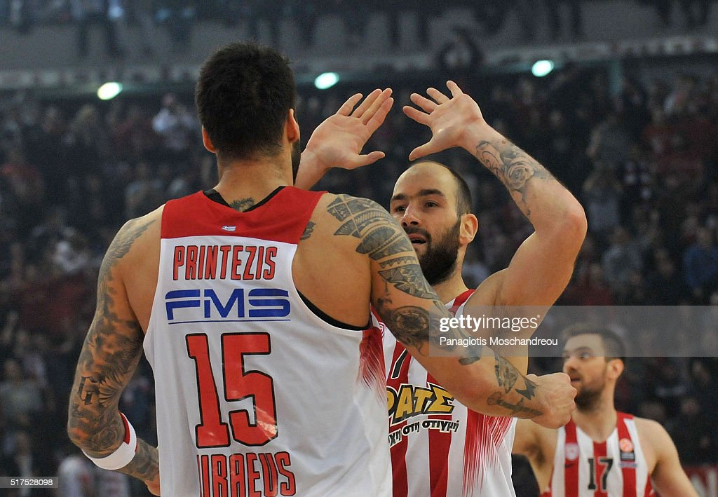 Georgios Printezis, #15 and <a gi-track='captionPersonalityLinkClicked' href=/galleries/search?phrase=Vassilis+Spanoulis&family=editorial&specificpeople=704857 ng-click='$event.stopPropagation()'>Vassilis Spanoulis</a>, #7 of Olympiacos Piraeus during the 2015-2016 Turkish Airlines Euroleague Basketball Top 16 Round 12 game between Olympiacos Piraeus v Real Madrid at Peace and Friendship Stadium on March 25, 2016 in Heraklion, Crete, Greece.