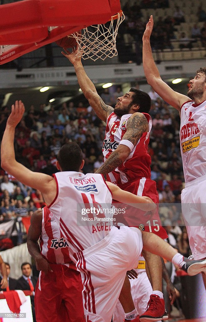 Georgios Printezis, #15 of Olympiacos Piraeus in action during the 2012-2013 Turkish Airlines Euroleague Regular Season Game Day 4 between Olympiacos Piraeus v Cedevita Zagreb at Peace and Friendship Stadium on November 2, 2012 in Athens, Greece.