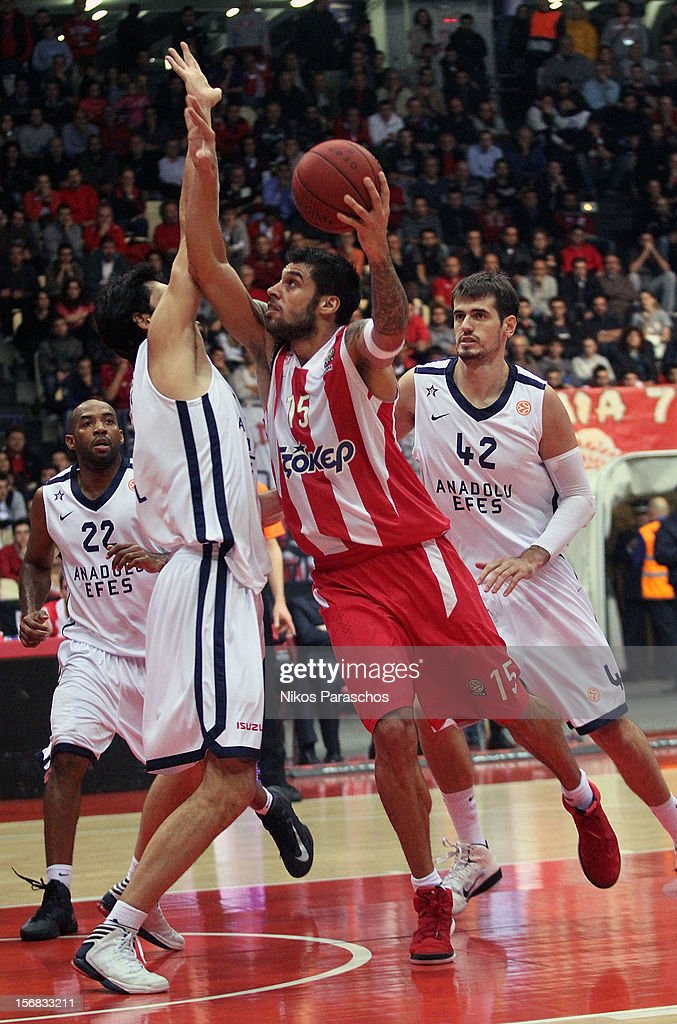 Georgios Printezis, #15 of Olympiacos Piraeus in action during the 2012-2013 Turkish Airlines Euroleague Regular Season Game Day 7 between Olympiacos Piraeus v Anadolu EFES Istanbul at Peace and Friendship Stadium on November 22, 2012 in Athens, Greece.