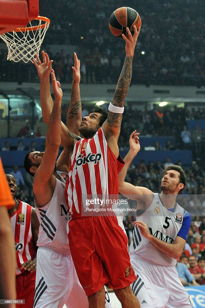 Georgios Printezis, #15 of Olympiacos Piraeus in action during the Turkish Airlines Euroleague Basketball Play Off Game 4 between Olympiacos Piraeus v Real Madrid at Peace and Friendship Stadium on April 23, 2014 in Athens, Greece.