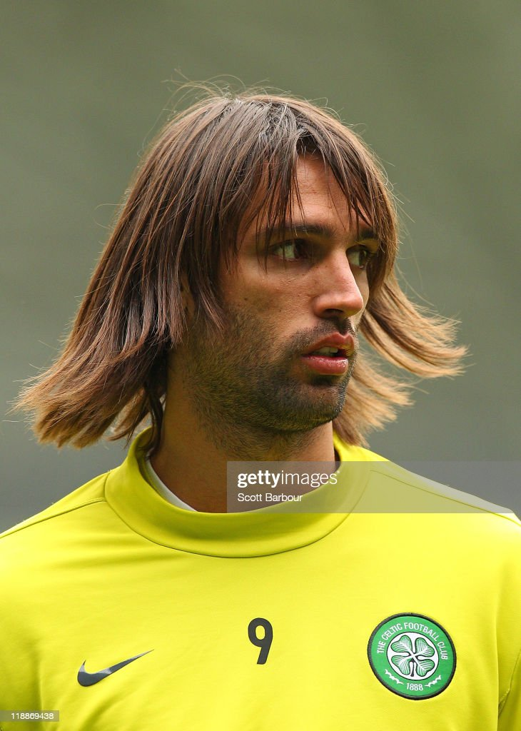 Georgios Samaras of Celtic looks on during a Glasgow Celtic training session at AAMI Park on July 12, 2011 in Melbourne, Australia.