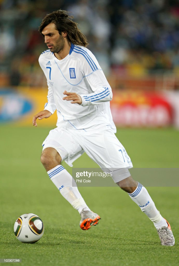 Georgios Samaras of Greece in action during the 2010 FIFA World Cup South Africa Group B match between Greece and Argentina at Peter Mokaba Stadium on June 22, 2010 in Polokwane, South Africa.