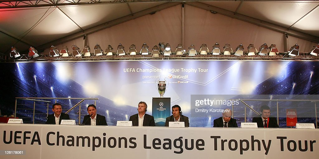 Georgiy Cherdantsev, Dmitri Alenichev, Davor Suker, Luis Figo, Michail Alexeev and Thomas Giordano poses for photo during the UEFA Champions League Trophy Tour 2011 on September 23, 2011 in Moscow, Russia.