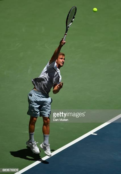 Georgiy Pochay of Turkmenistan serves against Filip Nikolic of Azerbaijan in the Mens Tennis Singles first round match during day five of Baku 2017...