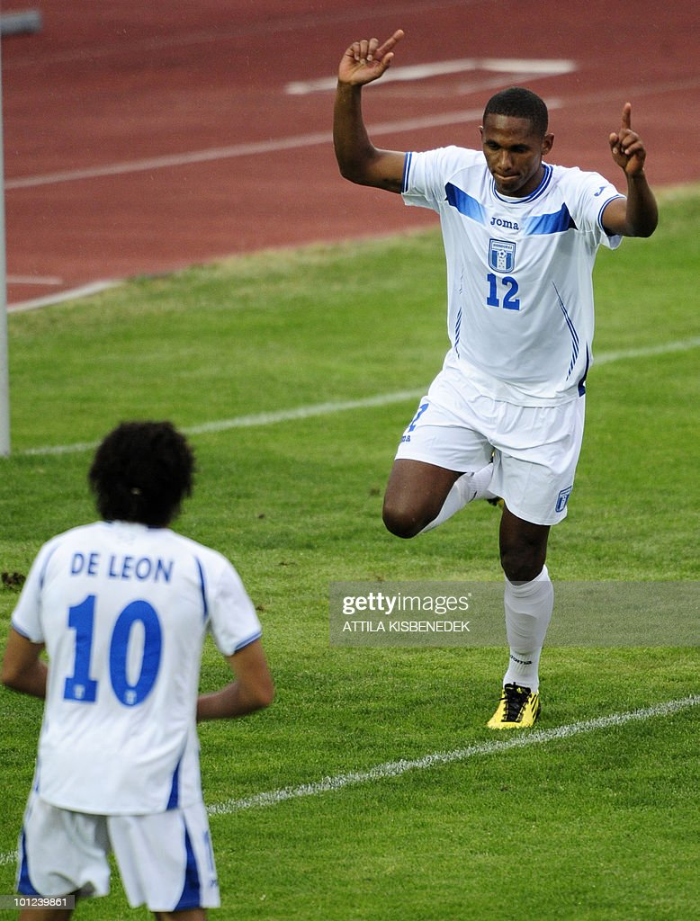 Georgy Welcome of Honduras (R) celebrates scoring with his team mate Julio Leon (L) against Belarus during their friendly football match between their teams in the local stadium of Villach, on May 27, 2010 prior to the FIFA World Cup 2010 hosted by South Africa between June 11 and July 11. The match ended with a draw 2-2.