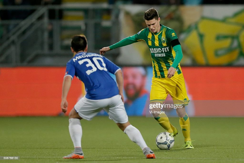 Georgy Zhukov of Roda JC, Danny Bakker of ADO Den Haag during the Dutch Eredivisie match between ADO Den Haag and Roda JC Kerkrade at Kyocera stadium on February 06, 2016 in The Hague, The Netherlands