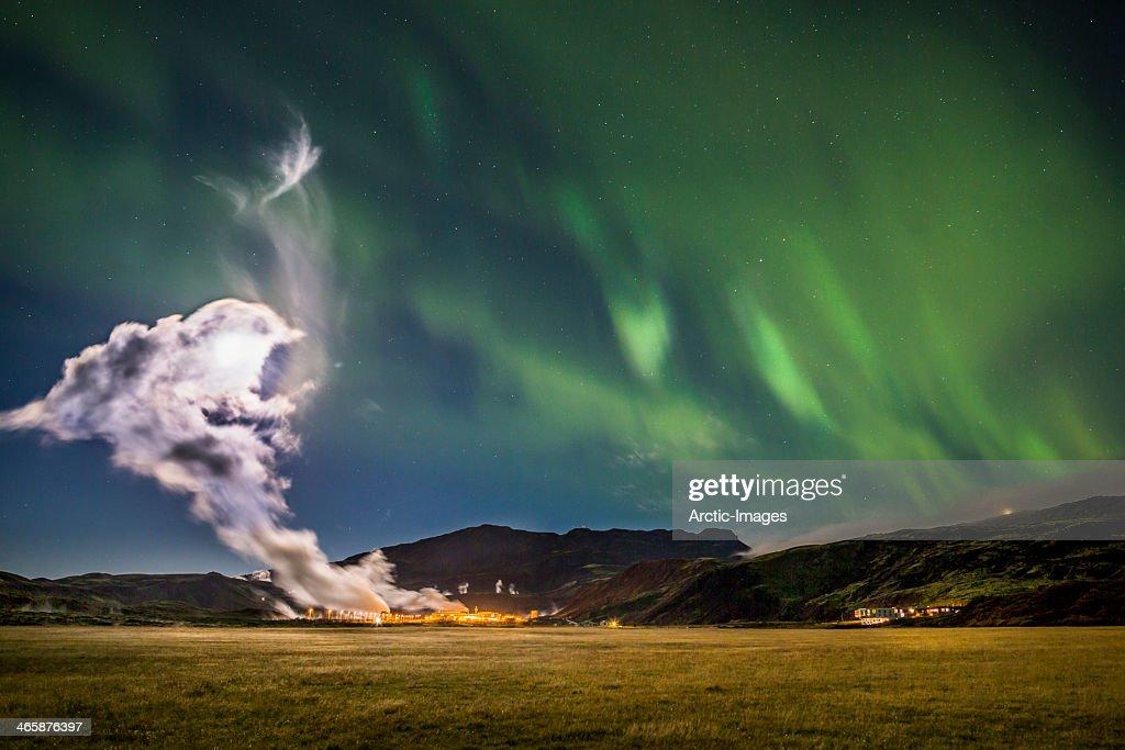 Geothermal steam and Aurora Borealis : Stock Photo