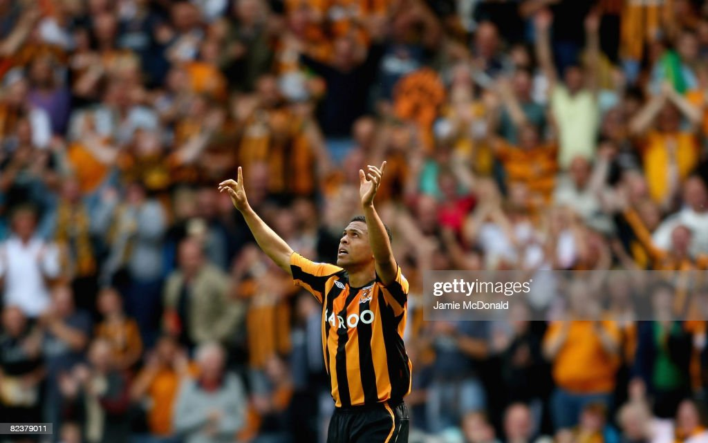 Geovanni of Hull celebrates his goal during the Barclays Premier League match between Hull Ciy and Fulham at the KC Stadium on August 16 2008 in Hull...