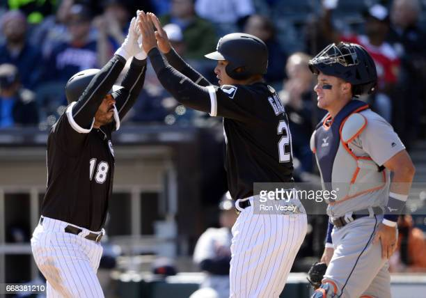 Geovany Soto of the Chicago White Sox celebrates after hitting a home run in the third inning against the Detroit Tigers on April 6 2017 at...