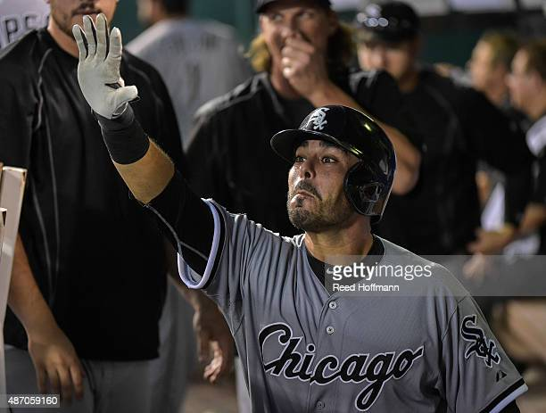 Geovany Soto of the Chicago White Sox collects highfives after hitting solo home run against the Kansas City Royals to give the White Sox a 41 lead...