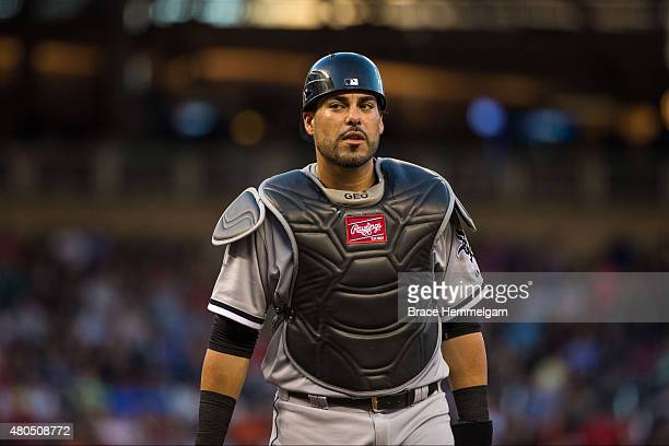 Geovany Soto of the Chicago White Sox looks on against the Minnesota Twins on June 22 2015 at Target Field in Minneapolis Minnesota The Twins...