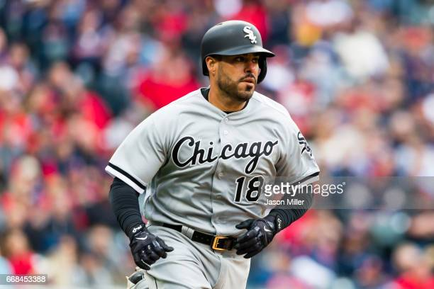Geovany Soto of the Chicago White Sox singles during the eighth inning at he Cleveland Indians home opening game at Progressive Field on April 11...