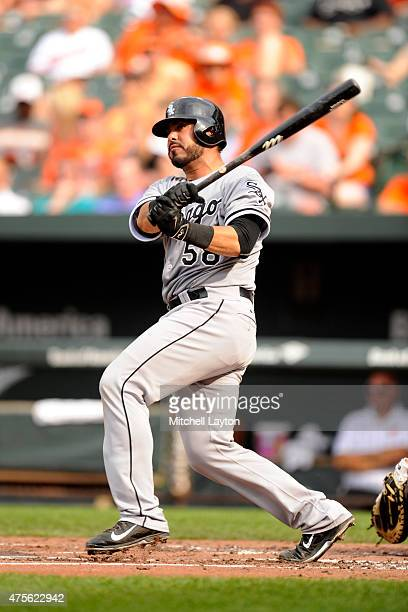 Geovany Soto of the Chicago White Sox takes a swing during a baseball game against the Baltimore Orioles in game two at Oriole Park at Camden Yards...