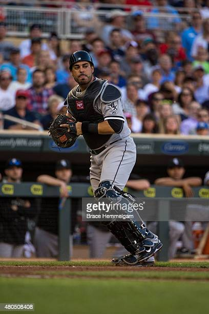 Geovany Soto of the Chicago White Sox throws against the Minnesota Twins on June 22 2015 at Target Field in Minneapolis Minnesota The Twins defeated...