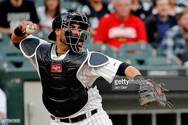 Geovany Soto of the Chicago White Sox throws to second base against the Houston Astros during the second inning at US Cellular Field on June 10 2015...