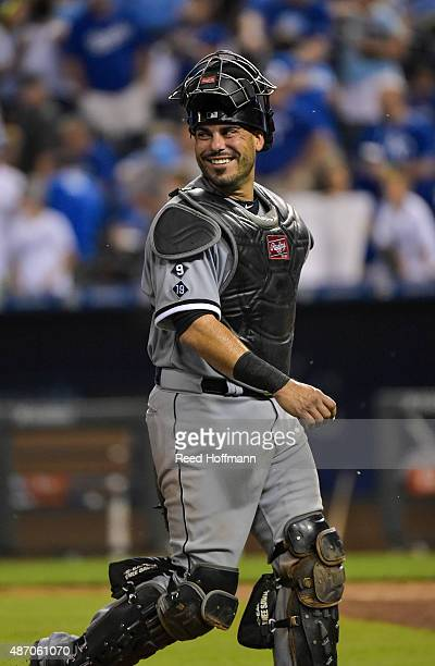 Geovany Soto of the Chicago White Sox was all smiles leaving the field after their 61 win over the Kansas City Royals during a game at Kauffman...