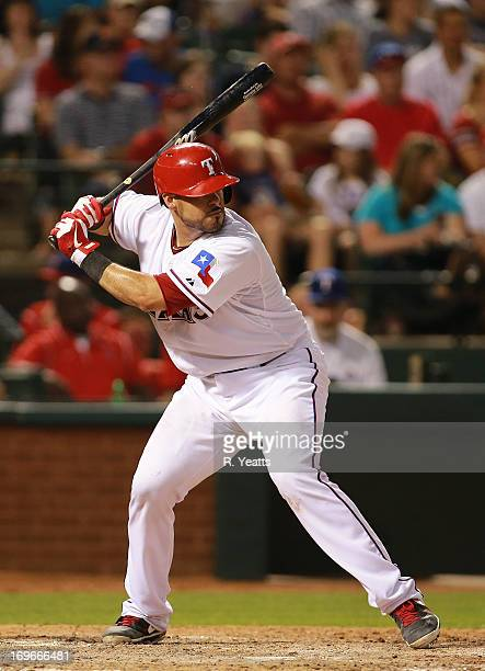 Geovany Soto of the Texas Rangers hits against the Detroit Tigers at Rangers Ballpark on May 17 2013 in Arlington Texas