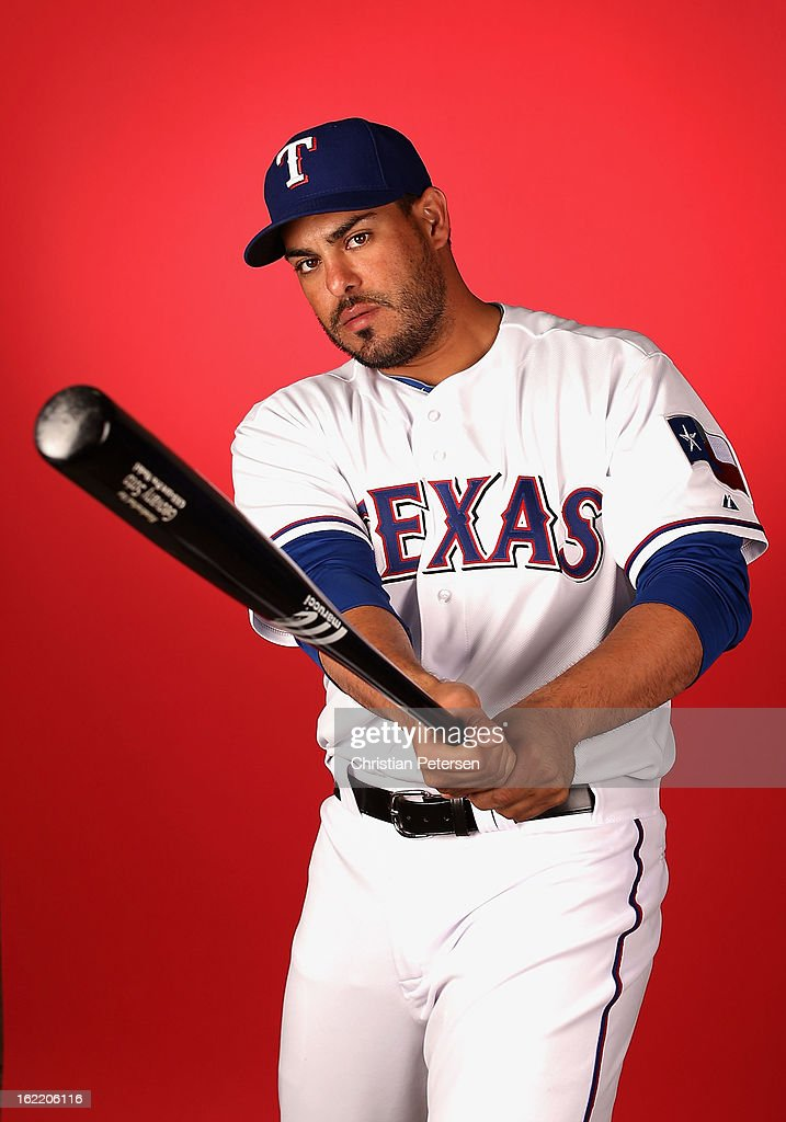 Geovany Soto #8 of the Texas Rangers poses for a portrait during spring training photo day at Surprise Stadium on February 20, 2013 in Surprise, Arizona.