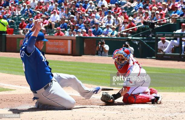 Geovany Soto of the Texas Rangers tags out Billy Butler of the Kansas City Royals at Rangers Ballpark in Arlington on June 2 2013 in Arlington Texas