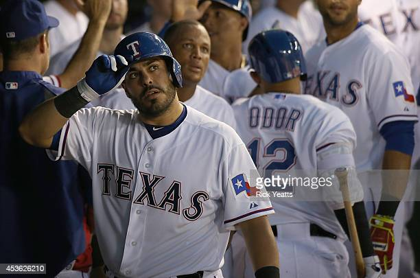 Geovany Soto of the Texas Rangers watches the replay of his two run home run in the fourth inning against the Tampa Bay Rays at Globe Life Park in...