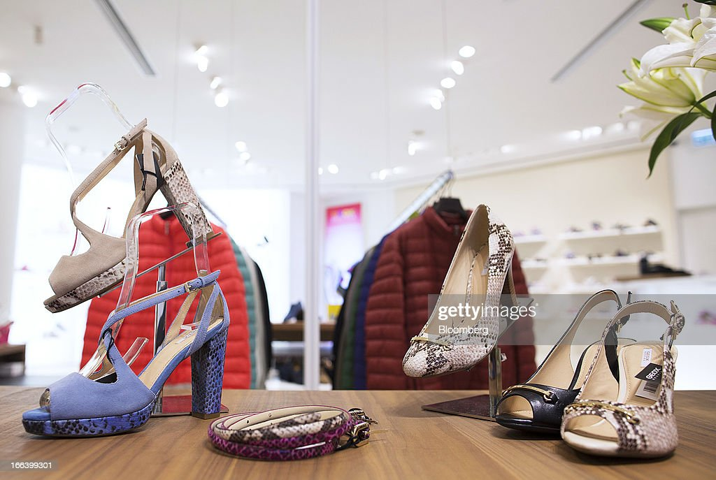 Geox SpA shoes are displayed for sale inside the company's flagship store in the Central district of Hong Kong, China, on Friday, April 12, 2013. Hong Kong's economy expanded 1.4 percent in 2012 and Financial Secretary John Tsang is projecting growth of 1.5 percent to 3.5 percent this year. Photographer: Jerome Favre/Bloomberg via Getty Images