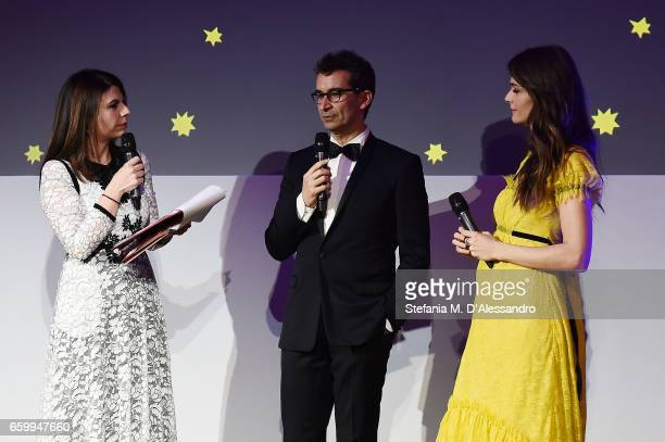 Geppi Cucciari Federico Marchetti and Elisa Sednaoui attend Elisa Sednaoui Foundation and Yoox Net a Porter Event on March 28 2017 in Milan Italy