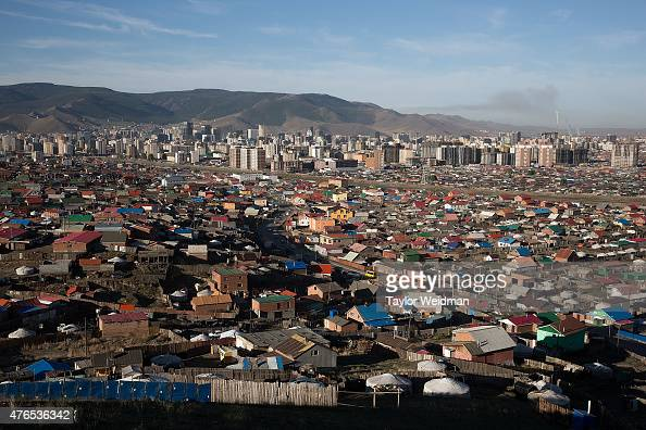 Ger districts surround the downtown areas of Ulaanbaatar and continue to grow as rural Mongolians move to the capital on June 10 2015 in Ulaanbaatar...