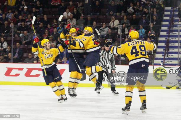 Gera Poddubnyi of the Erie Otters celebrates his third period goal against the Saint John Sea Dogs on May 26 2017 during the semifinal game of the...