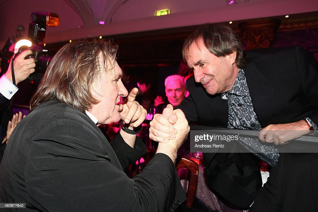 Gerad Depardieu and <a gi-track='captionPersonalityLinkClicked' href=/galleries/search?phrase=Chris+de+Burgh&family=editorial&specificpeople=874328 ng-click='$event.stopPropagation()'>Chris de Burgh</a> attend the Lambertz Monday Night 2015 at Alter Wartesaal on February 2, 2015 in Cologne, Germany.