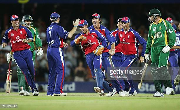 Geraint Jones of England celebrates stumping Andrew Hall of South Africa to force a draw during the second one day international match between South...