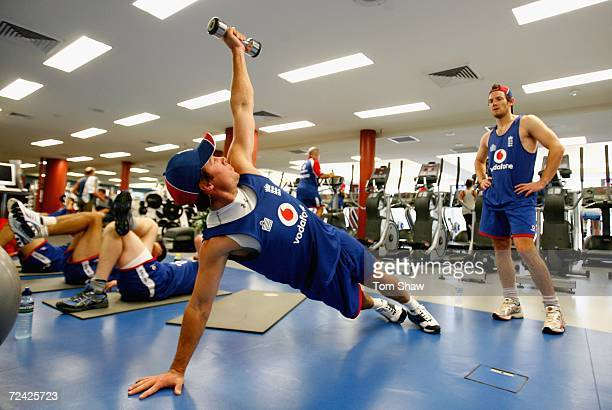 Geraint Jones of England does some weights as Chris Read looks on during a gym session at the Aussie Stadium Fitness Centre on November 7 2006 in...