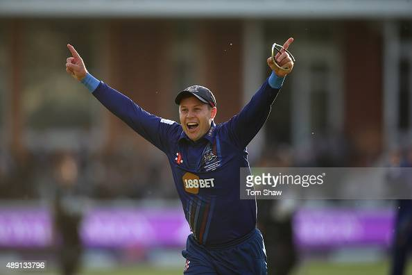 Geraint Jones of Gloucester celebrates winning the final during the Royal London One Day Cup Final between Gloucestershire and Surrey at Lord's...