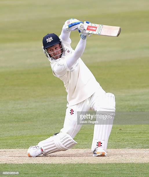 Geraint Jones of Gloucestershire cuts the ball for four runs during the LV County Championship division two match between Northamptonshire and...