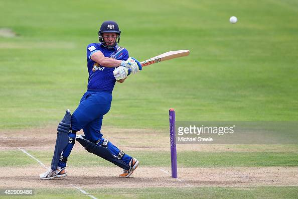 Geraint Jones of Gloucestershire pulls a delivery off the bowling of John Hastings of Durham during the Royal London One Day Cup Group A match...