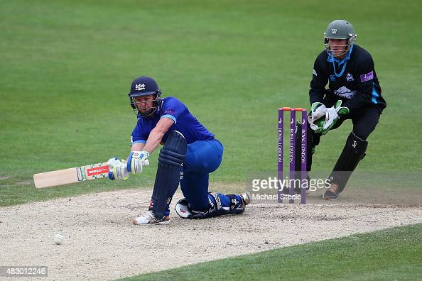 Geraint Jones of Gloucestershire sweeps off the bowling of Brett D'Oliveira of Worcestershire as wicketkeeper Ben Cox looks on during the Royal...